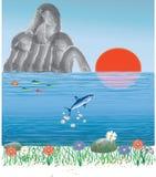Oceaan zonsopganglandschap Stock Foto