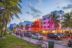 Oceaanaandrijving in Zuidenstrand Miami Stock Afbeelding