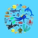 Oceaandieren en duiker royalty-vrije illustratie