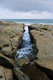 OceaandieStrand van de Stille Oceaan wordt geschoten Stock Foto