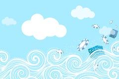 Oceaangolf en Verrassings Vliegende Spaanders en giften Stock Afbeelding