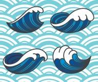 Oceaangolfpictogrammen stock illustratie