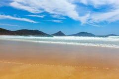 Oceaangolven, beboste rotsachtige dagzomende aardlagen en blauwe hemel royalty-vrije stock foto