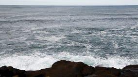 Oceaangolven met Lava Rock Shore Depoe Bay Oregon stock video