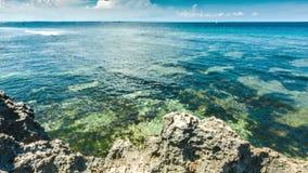 Oceaangolven met rotsenkust stock video