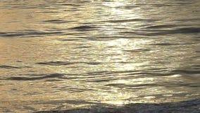 Oceaangolven met Zonsondergangbezinning in Langzame Motie stock footage