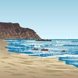 Oceaankust met rots royalty-vrije illustratie