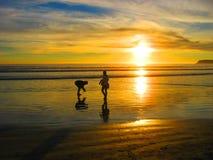 Oceaanlange strandgolven Royalty-vrije Stock Foto