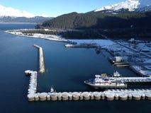 Oceaanmening van de scheepswerf Van Alaska royalty-vrije stock fotografie