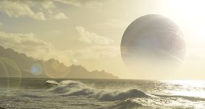 Oceaanplaneet met maan Royalty-vrije Stock Foto