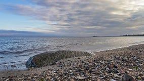 Oceaanrots met zeeschelpenhorizon stock fotografie