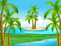 Oceaanscène met kokospalmen op eiland Stock Fotografie
