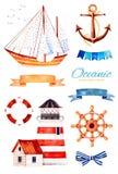 Oceaanschepsel met anker, vuurtoren, lint en boog, bunting vlaggen, zeilboot stock illustratie