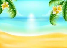 Oceaanstrand met palmen en tropische bloemen Stock Afbeelding