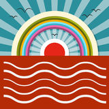 Oceaanzonsondergang - Zonsopgang Vectorillustratie Royalty-vrije Stock Foto