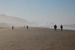 oceanów plażowi mgliści ludzie Zdjęcia Royalty Free