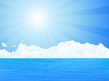 Ocean. Sun and sky. Vector illustration stock illustration