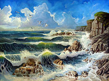 The ocean. Original oil paint of a the ocean with the waves breaking on the coast and seagulls flying under a cloudy sky royalty free illustration