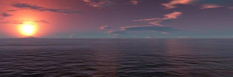 Ocean. Sunset in the dark ocean Stock Photography