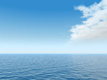 Ocean. Water landscape with cloudy sky - 3d illustration