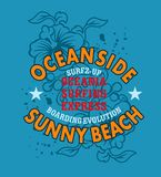 Ocean. Sunny beach design with floral Background Royalty Free Stock Photography