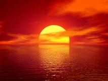 Ocean. Red sunset 3D render vector illustration