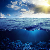 Ocean above and below Royalty Free Stock Image