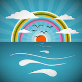 Ocean Abstract Retro Vector Illustration Royalty Free Stock Images