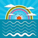 Ocean Abstract Retro Vector Illustration with Sun Stock Image
