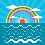 Ocean Abstrakcjonistyczna Retro Wektorowa ilustracja z słońcem Obraz Stock