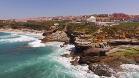 Ocean aerial view over Ericeira village near Lisbon. Ericeira Portugal. Ocean view over Ericeira village near Lisbon. Ericeira Portugal stock video footage
