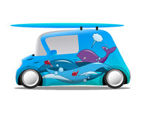 Ocean aerography mini cartoon car with a surfboard Stock Image