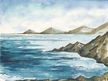 Ocean akwareli ręki obrazu ilustracja Obraz Royalty Free
