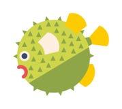 Ocean animal design of fish hedgehog cartoon ocean life vector illustration. Royalty Free Stock Images