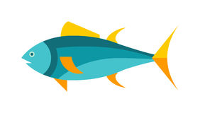Ocean animal design of tuna fish cartoon animals flat vector illustration. Royalty Free Stock Image