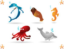 Ocean animals. Happy animals living in the ocean. Simple radial and linear gradients used Royalty Free Stock Photo