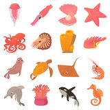 Ocean animals fauna icons set, cartoon style Stock Images