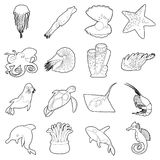 Ocean animals fauna icons set, outline style Royalty Free Stock Photos