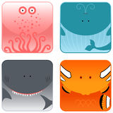 Ocean animals icon set. A set of four ocean animal icons: octopus, whale, shark and clown fish Royalty Free Stock Photos