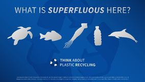 Ocean animals and plastic bottle vector illustration. Sea animals and plastic garbage, trash, rubbish with recycle sign graphic design. Ocean plastic pollution Stock Image