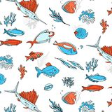 Ocean animals underwater sketch. Monochrome fish line art. Summer tropical food. Deep water illustration for restaurant. Shop. wrap, cloth, advertising Royalty Free Stock Photo