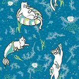 Ocean Aqua Magical Purrmaid Diving Cats Cartoon stock illustration