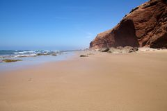 Ocean atlantic beach. In the South of Morocco, between Sidi Ifni and Legzira beach Stock Photos