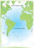 Ocean Atlantic map. Royalty Free Stock Image