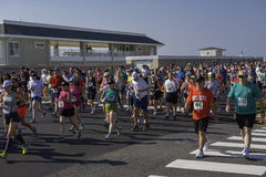 On Ocean Avenue at the Annual Spring Lake 5k Race in 2016. Spring Lake NJ, USA May 28, 2016 Runners on Ocean Avenue at the beginning of the annual Spring Lake 5K Stock Photos