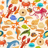 Ocean background. Tropical sea life design. Vector seamless pattern with fishes, corrals, shells, seaweeds, sea-horse and other underwater creatures Royalty Free Stock Image