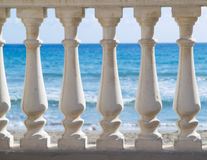 Ocean and balustrade Stock Images