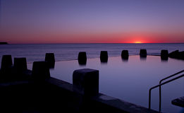 Dawn Ocean Sunrise Swimming Pool Bath Silhoutte Stock Photo