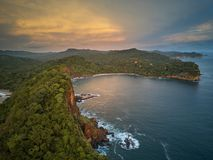 Ocean bay in sunset time. Aerial drone view. Nicaragua travel landscape Stock Photos