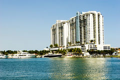 Ocean bay view. Building with the ocean bay view and marina Stock Image